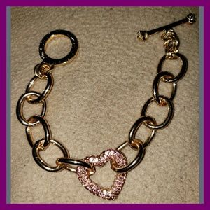 ♡Juicy Couture♡ Pink Rhinestone♡ Heart Bracelet